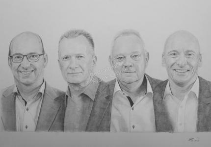 Kohlezeichnung, Portraitzeichnung, Kohlezeichnung einer Männergruppe, Kohle-Portraits, Portraitzeichnungen mit Kohle