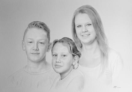 Bleistiftzeichnung, Portrait, Geschwister-Portraits zeichnen lassen, Familienportraits zeichnen lassen